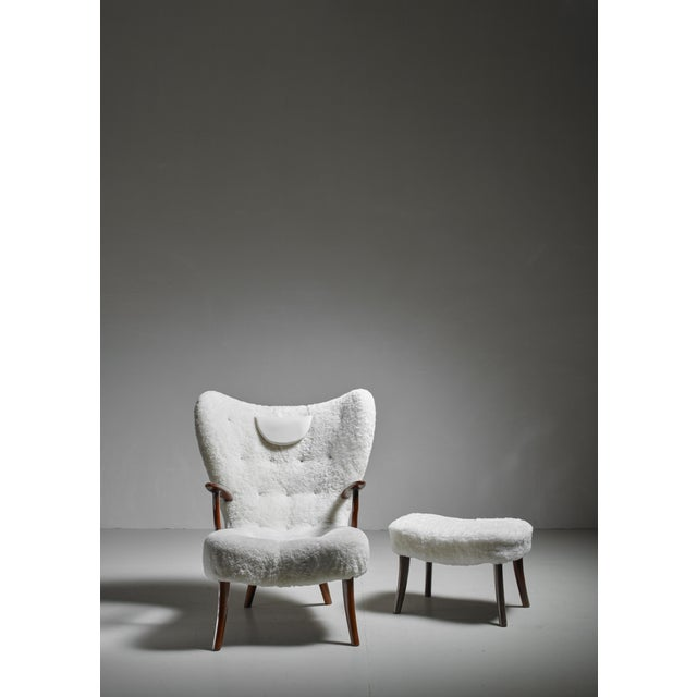 Mid-Century Modern Madsen and Schübel 'Pragh' Lounge Chair With Ottoman, Denmark, 1950s For Sale - Image 3 of 6