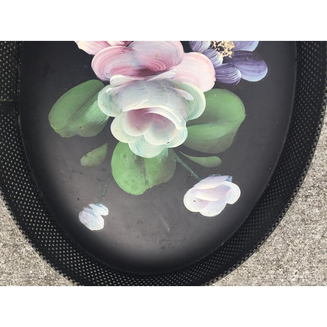 Small Hand-Painted Tole Tray Mesh Sides Floral For Sale In Savannah - Image 6 of 10