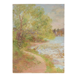 Impressionist Lakeside Landscape, Oil Painting, Circa 1900-1930s For Sale