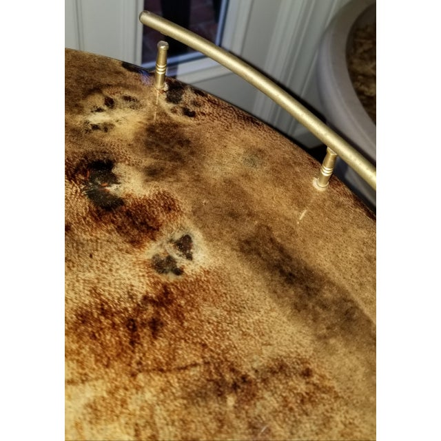 1960s 1960s Hollywood Regency Aldo Tura Laquered Goat Skin Bar Cart For Sale - Image 5 of 6