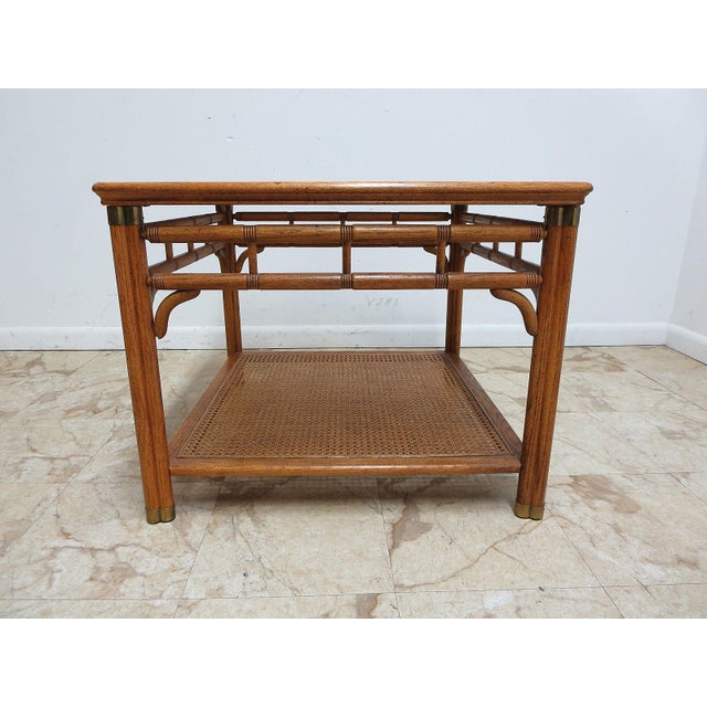Vintage Mid-Century Campaign Faux Bamboo Carved End Table For Sale - Image 11 of 11