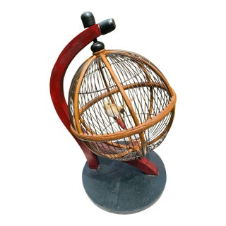 1920s Spinning Raffle Bingo Cage Wood & Wire Construction Birdcage or Plant Stand For Sale