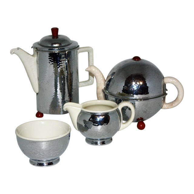 1920s Silver and Porcelain Tea Set of 4 For Sale