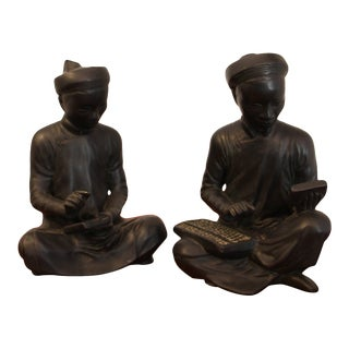 Asian Mathematician Statues - a Pair For Sale