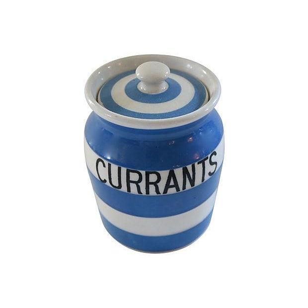 Vintage English Cornishware Currants Jar - Image 2 of 3