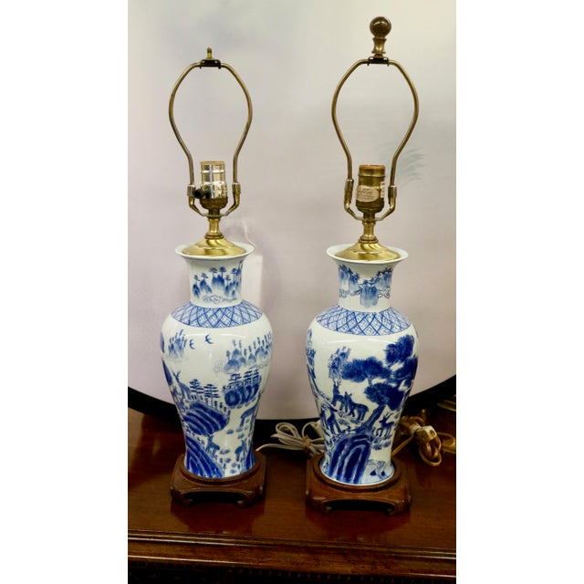 White Blue & White Asian Lamps - A Pair For Sale - Image 8 of 8