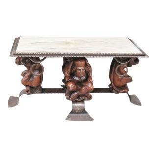 Oscar Bach Style Renaissance Revival Figural Marble Top Coffee Table For Sale
