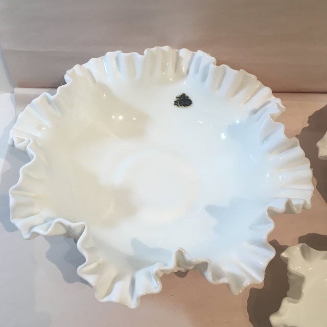 Mid-Century Modern Fenton Hobnail Milk Glass Crimped Bowls - Set of 3 For Sale - Image 3 of 9