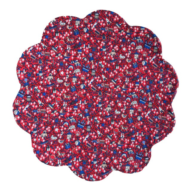 Liberty of London Scalloped Placemat Red Magical Forest - Set of 4 For Sale