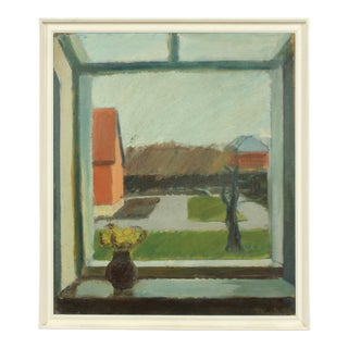 1939 Double Sided Window Still Life Oil Painting by Preben Knuth For Sale