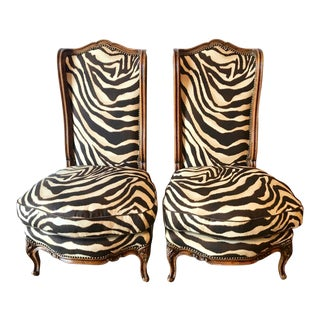 Pair French Walnut Chauffeuses/Slipper Chairs For Sale