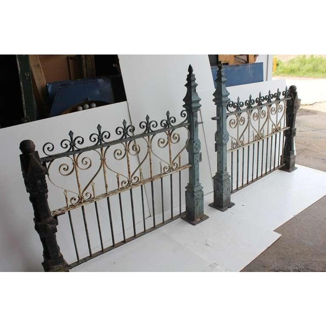 Rustic Custom Made Antique Cast Iron Fence For Sale - Image 3 of 6