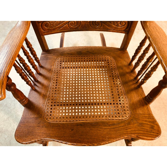 Quarter-Sawn Oak Hand Carved Rocking Chair For Sale - Image 9 of 13