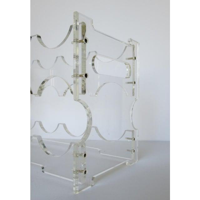 Transparent Vintage Lucite Wine Bottle Rack For Sale - Image 8 of 11