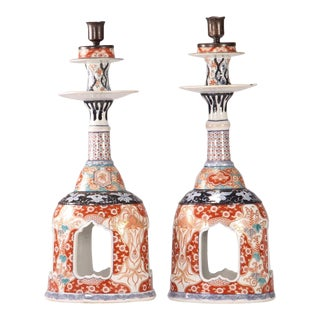 19th Century Japanese Meiji Period Imari Bell-Form Candlesticks - a Pair For Sale