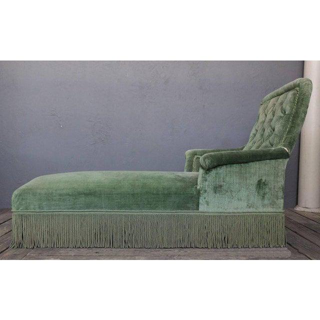 19th Century Light Green Velvet Chaise - Image 5 of 8
