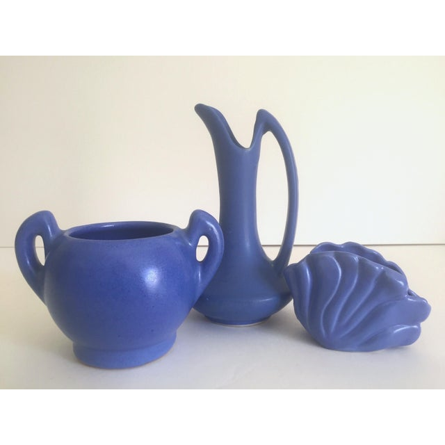 Art Deco Vintage Art Deco 1930's Niloak Royal Blue Matte Pottery Vases - Set of 3 For Sale - Image 3 of 11