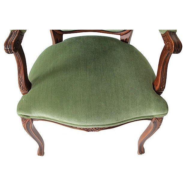 Upholstered Green Fauteuils - Pair - Image 7 of 10