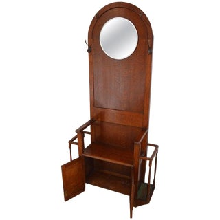 Hall Tree Coat Stand With Mirror, Antique Oak, Hallway Rack For Sale
