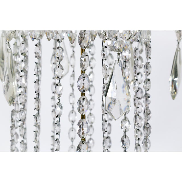 1920s 1920s Regency Tent and Bag Crystal Brass Chandelier For Sale - Image 5 of 11