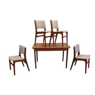 Vintage Erik Buch Danish Modern Teak Dining Table and Chair Set - 5 Pieces For Sale