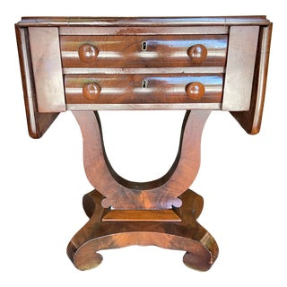 Antique Mahogany Sewing Table For Sale