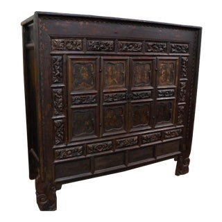 Antique Chinese Cabinet With Bold Floral Carving For Sale