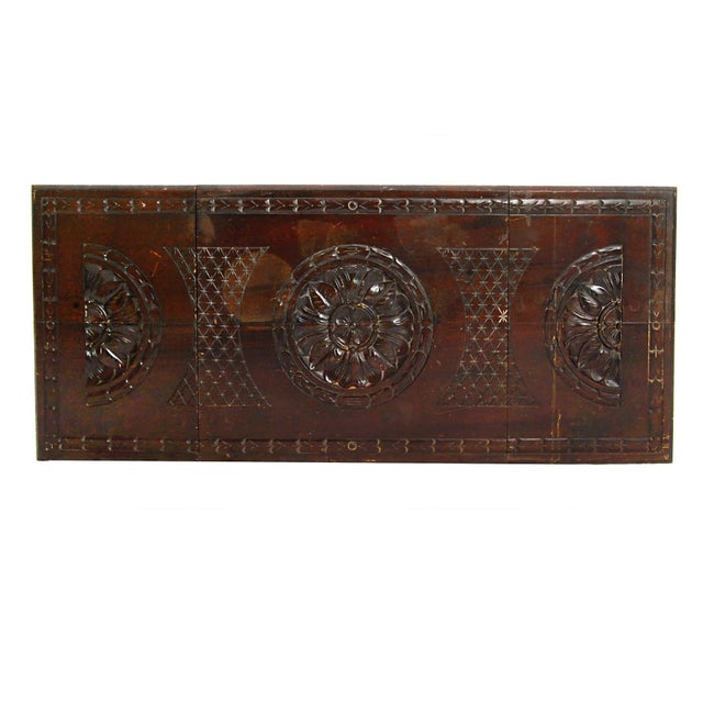Folding Mahogany Side Table w/Floral Hand Carving - Image 4 of 4