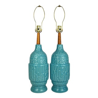 Midcentury Turquoise Ceramic Lamps, Pair For Sale