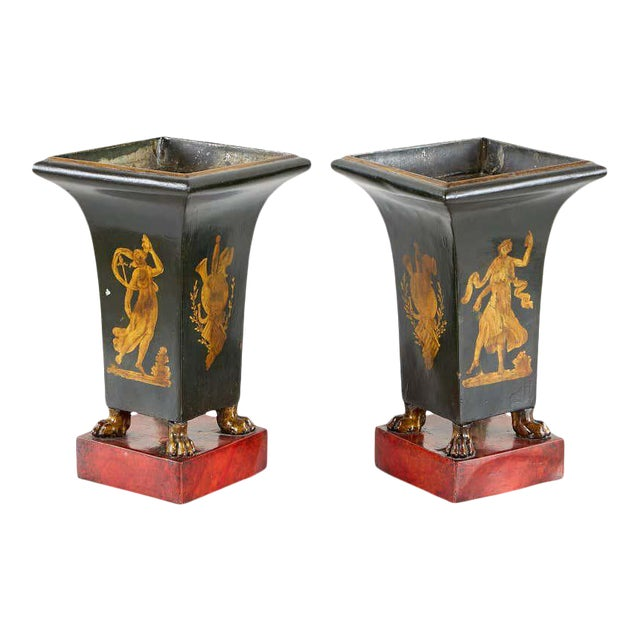 French Neoclassical Directoire Style Tole Vases - a Pair For Sale