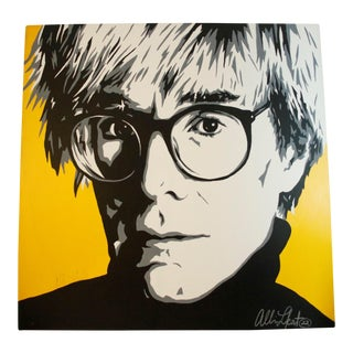 1990s Vintage Allison Lefcort 'Andy Warhol' Oil on Canvas Painting For Sale