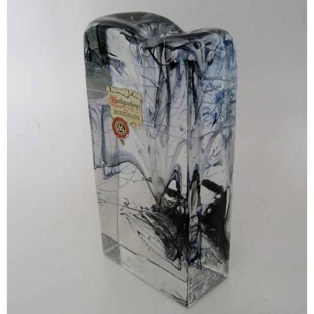 Contemporary Vintage Block Glass Solifleur For Sale - Image 3 of 7