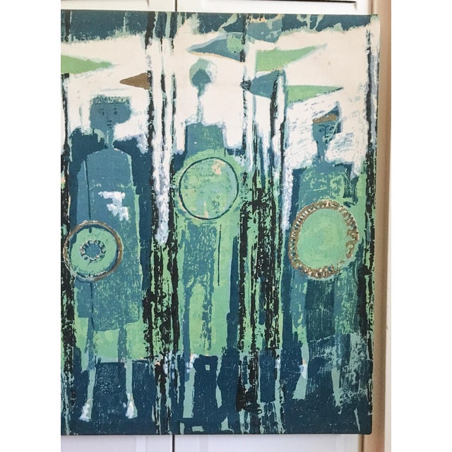Cotton The Age of Kings in Blue Textile Art by Tibor Reich For Sale - Image 7 of 11