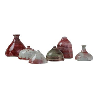 Franco Agnese Set of Six Ceramic Vases in Red Tone, France, 1960s For Sale