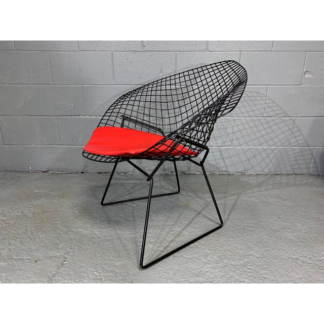 Knoll Harry Bertoia for Knoll Mid-Century Modern Diamond Chair With Red Seat C. 1952 For Sale - Image 4 of 13