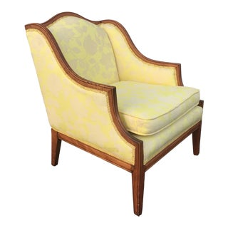 Vintage French Country Yellow Bergere Chair For Sale