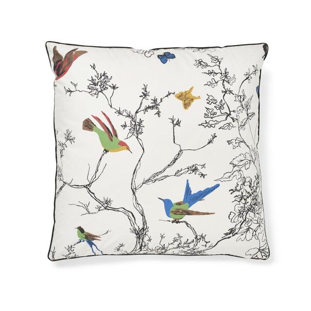 Textile Schumacher Birds & Butterflies Pillow in Multi For Sale - Image 7 of 7