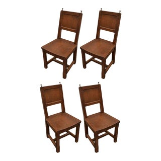 Set of 4 Wooden Dining Chairs With Silver Finials For Sale