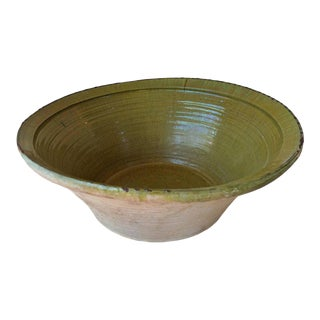 19th Century Spanish Hand Thrown and Glazed Green Stoneware Pottery Bowl