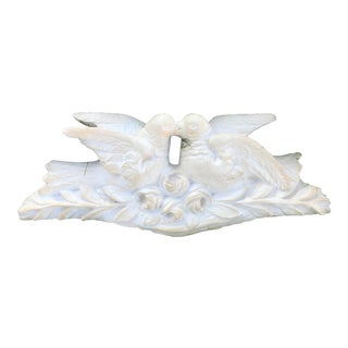 Over the Door Sculpural Turtle Doves Kissing on Branch Wall Hanging For Sale
