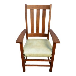 Early 20th Century Vintage Limbert Mission Tall Arm Chair For Sale