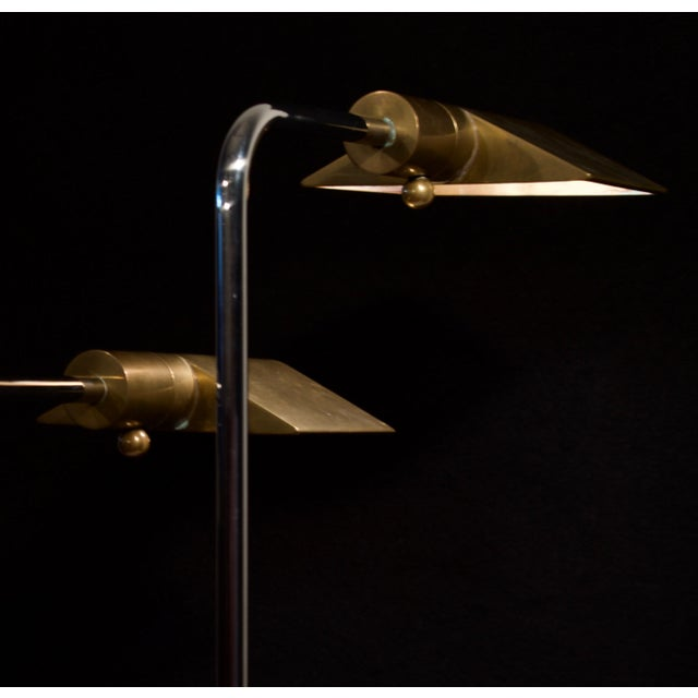 Mid-Century Modern Cedric Hartman Early Brass and Chrome Swivel Floor Lamps, 1960's - a Pair For Sale - Image 3 of 10