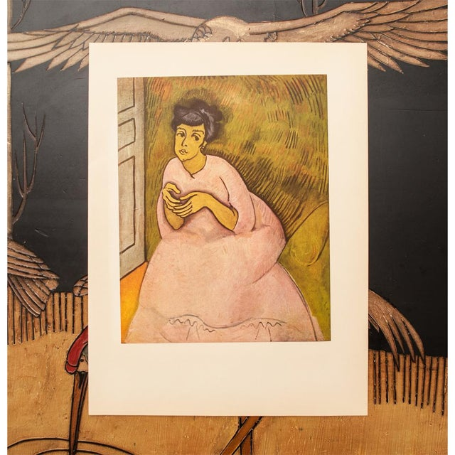 """Expressionism 1954 Raoul Dufy, """"Woman in Rose"""" First Edition Lithograph For Sale - Image 3 of 8"""