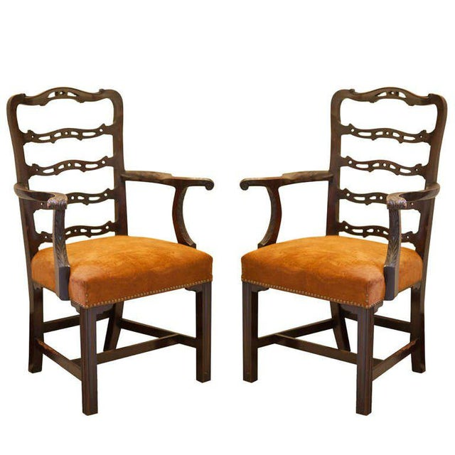 Brown 19th Century Vintage Mahogany Ladder Back Chairs- A Pair For Sale - Image 8 of 8