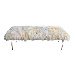 Genuine Mongolian Lamb Hair Bench on Hairpin Legs For Sale