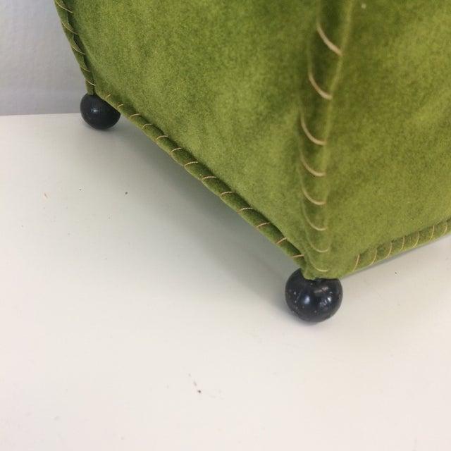 Mid-Century Moss Green Velvet Table Lamp For Sale - Image 9 of 11