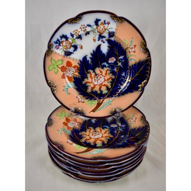 Mid 19th C. John Ridgway English Chinoiserie Style Imari Floral Plates, S/8 For Sale - Image 13 of 13