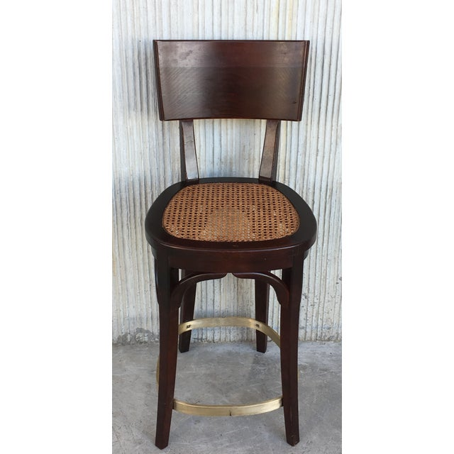 Set of Six Caned Seat and Wood Back Bar Stools For Sale - Image 4 of 13