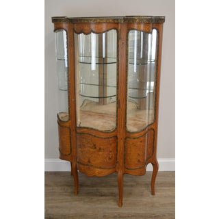 French Louis XV Style Antique Marquetry Inlaid Serpentine Bow Glass Vitrine Curio Cabinet Preview