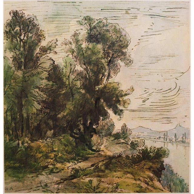 Blue Theodore Rousseau, 1959 River Landscape Lithograph For Sale - Image 8 of 10